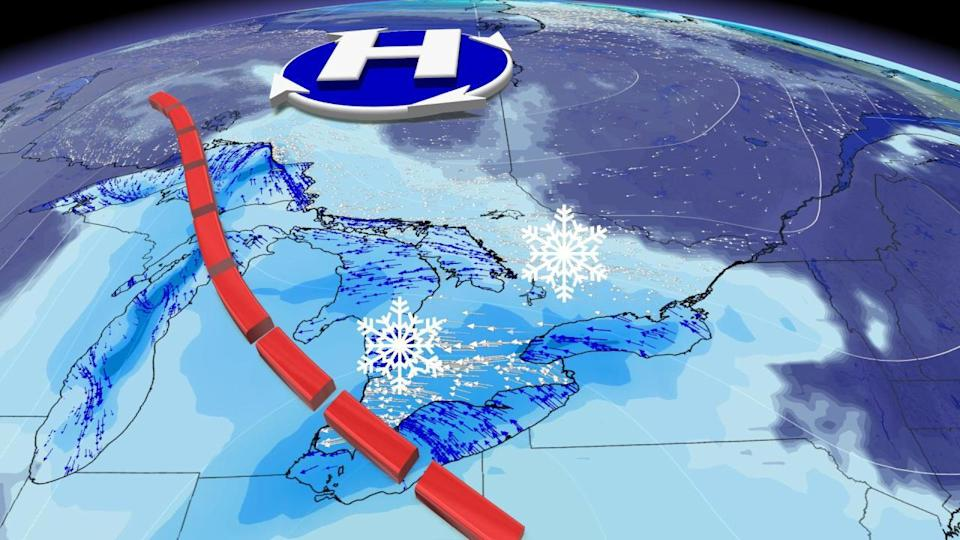 Watching some heavy lake-effect snow for Ontario, extreme cold tightens