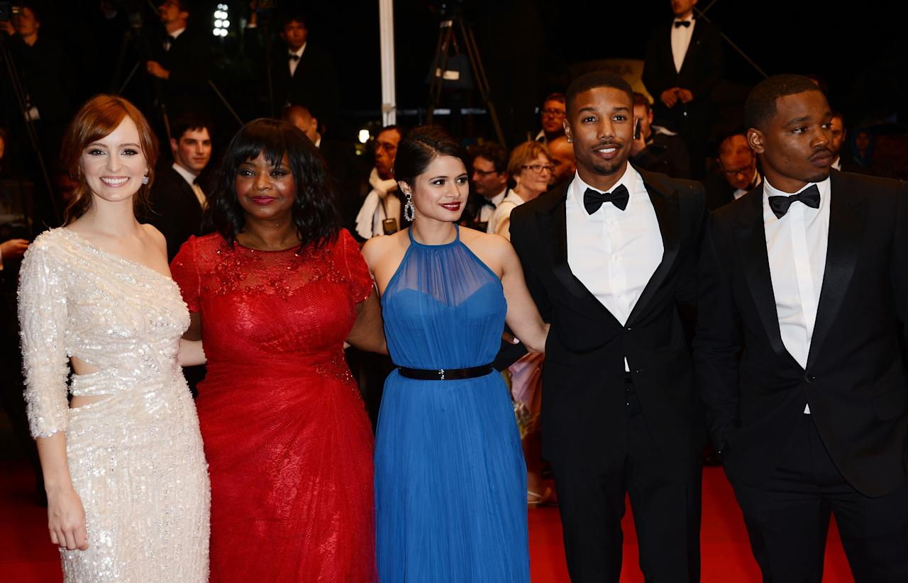 CANNES, FRANCE - MAY 16:  (L-R) Ahna O'Reilly, Octavia Spencer, Melonie Diaz, Michael B. Jordan and Ryan Coogler attend the 'Fruitvale Station' Premiere during the 66th Annual Cannes Film Festival at the Palais des Festivals on May 16, 2013 in Cannes, France.  (Photo by Ian Gavan/Getty Images)