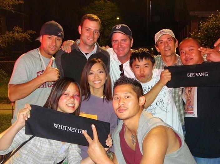 Vang with fellow castmates on the set of