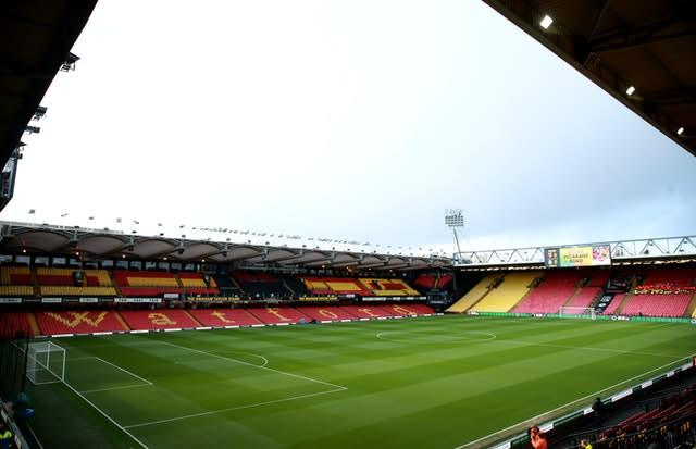 Vicarage Road will be empty as Watford host Leicester in their first game back. (Adam Davy/PA)