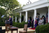 """President Donald Trump speaks before signing an executive order on the """"White House Hispanic Prosperity Initiative,"""" in the Rose Garden of the White House, Thursday, July 9, 2020, in Washington. (AP Photo/Evan Vucci)"""