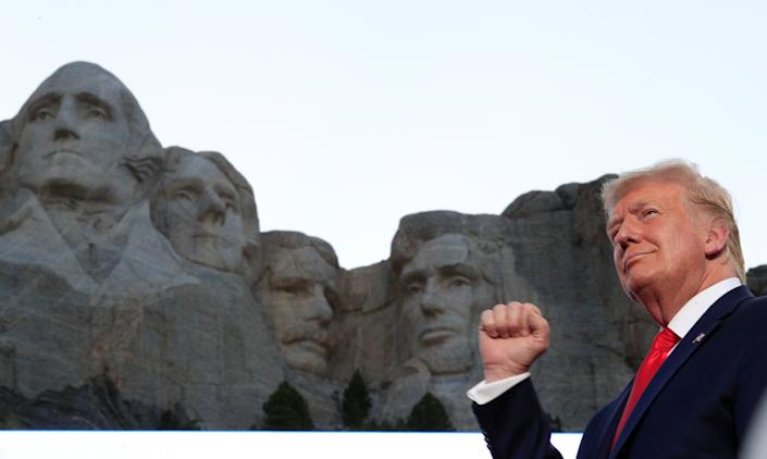 President Donald Trump attends South Dakota's Independence Day Mount Rushmore fireworks celebrations at Mt. Rushmore in Keystone, South Dakota, July 3, 2020. (Tom Brenner/Reuters)