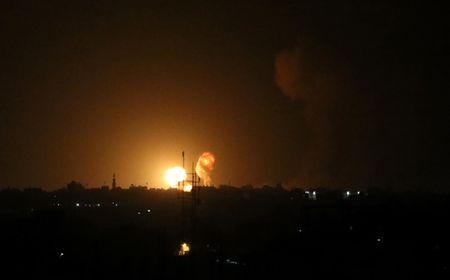 Explosion is seen following an Israeli air strike in the southern Gaza Strip