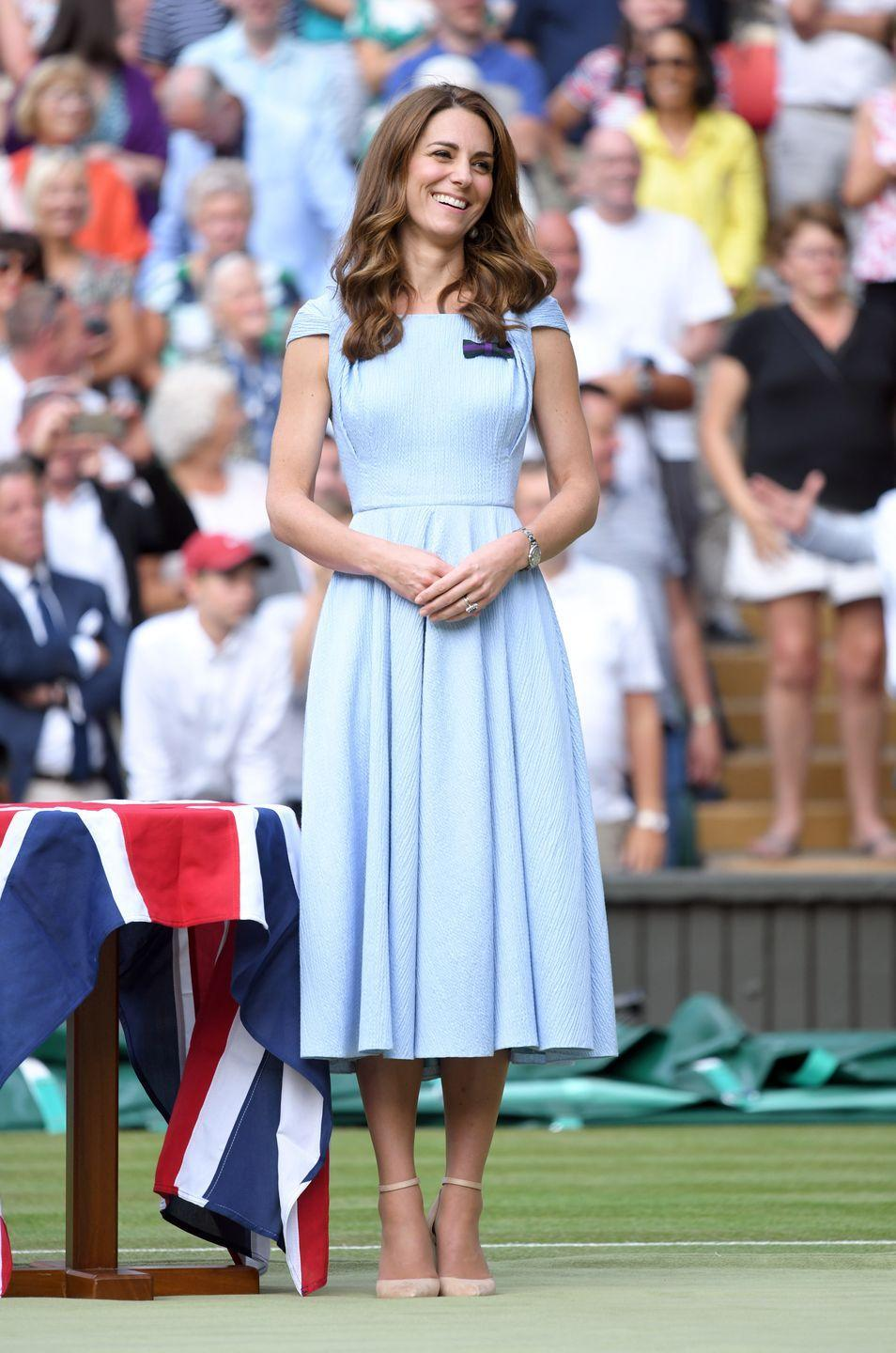 <p>Duchess of Cambridge attends day 13 of the Wimbledon Tennis Championships in a dress by Emilia Wickstead.</p>