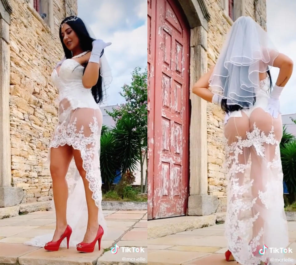 Brazilian singer MC Rielle wearing a sheer lace wedding dress that exposes her G-string underwear