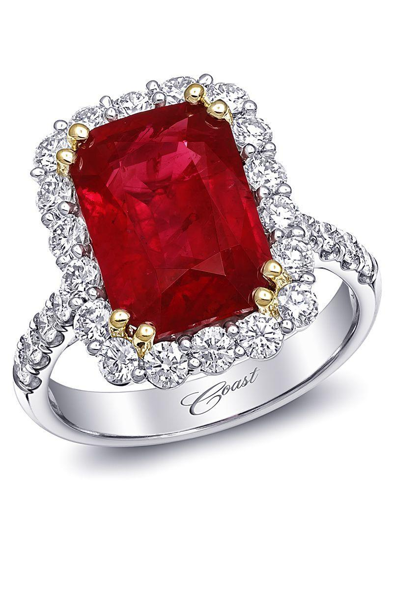 "<p>This lush red ruby definitely won't go unnoticed—and it's is for the bride who loves color and lives to make a statement.<br><br><em>Emerald cut ruby ring with diamond halo in platinum and 18K yellow gold, price upon request, <a href=""http://www.coastdiamond.com"" rel=""nofollow noopener"" target=""_blank"" data-ylk=""slk:coastdiamond.com"" class=""link rapid-noclick-resp"">coastdiamond.com</a>.</em></p><p><a class=""link rapid-noclick-resp"" href=""https://www.coastdiamond.com/collections/signature-color_p2868/?search=ruby"" rel=""nofollow noopener"" target=""_blank"" data-ylk=""slk:SHOP"">SHOP</a><br></p>"