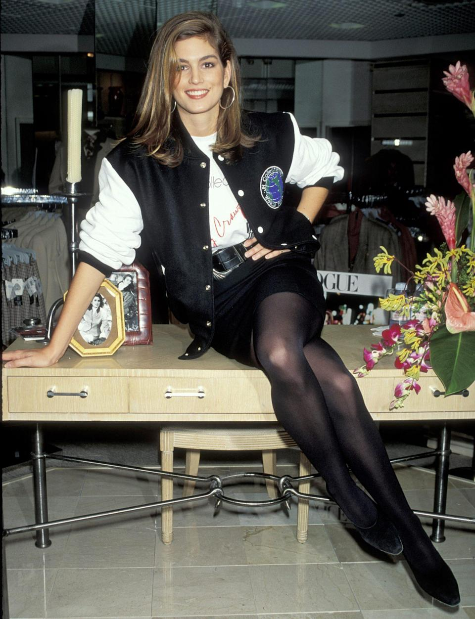 <p>The spitting image of her daughter Kaia while hosting a press conference to announce her line with JH Collectible Sportswear in 1990 in N.Y.C.</p>