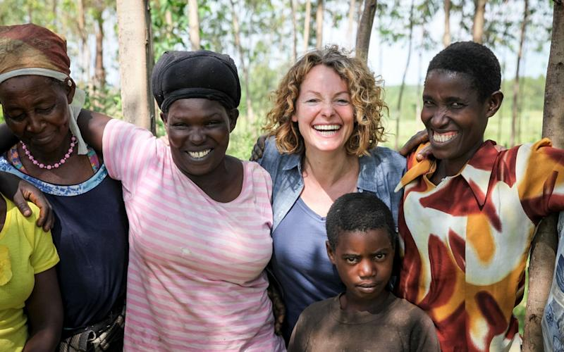 Kate Humble with the women of the Kuria  - BBC