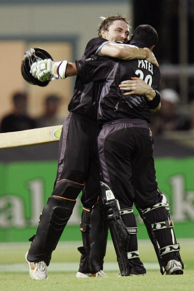 HAMILTON, NEW ZEALAND - FEBRUARY 20:  Brendon McCullum (L) and Jeetan Patel of New Zealand celebrate winning the third one-day international match of the Chappell-Hadlee Trophy series between New Zealand and Australia at Seddon Park on February 20, 2007 in Hamilton, New Zealand. New Zealand won the series 3 nil.  (Photo by Jeff Brass/Getty Images)