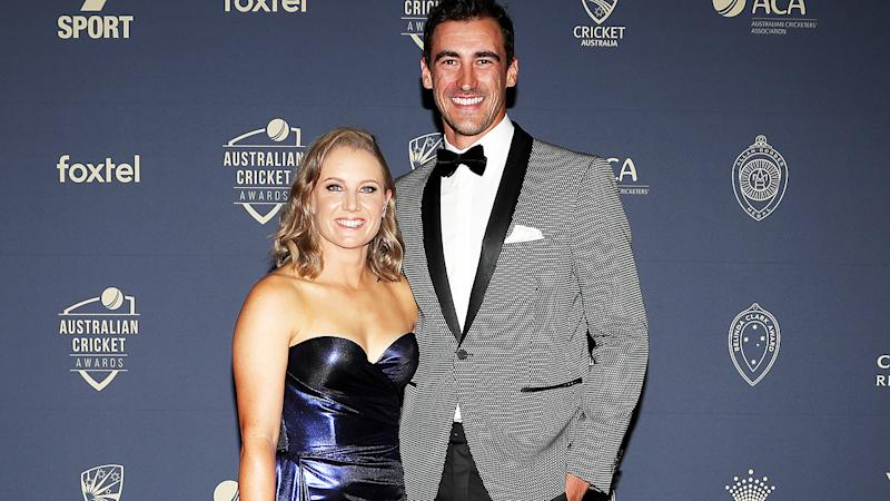 Alyssa Healy and Mitchell Starc, pictured here at the 2020 Cricket Australia Awards in February.