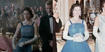 <p>When the Kennedys visited Buckingham Palace in 1961, the royals welcomed them with a stylish reception. Queen Elizabeth donned a blue ruffled chiffon ball gown with velvet finishes and diamond and sapphire jewelry, which the show recreated nearly identically.</p>