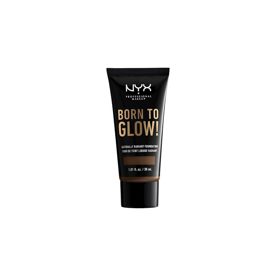 "<p>Pick from the 45 shades of the Nyx Born to Glow Naturally Radiant Foundation to bring your summer dewy skin in to fall. Its medium coverage will give your complexion a natural-looking radiance, no matter what your skin type may be. The ultra-thin liquid won't cling to dry patches or look too shiny on oily skin. Plus, it feels more like a serum than a layer of base makeup. The best part is all this goodness is housed in a portable one-ounce tube.</p> <p>$10 (<a href=""https://shop-links.co/1682651211349354873"" rel=""nofollow"">Shop Now</a>)</p>"