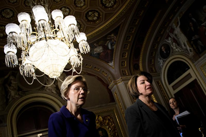 Elizabeth Warren, left, and Amy Klobuchar