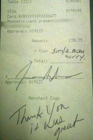 "<div class=""caption-credit""> Photo by: Reddit</div><div class=""caption-title"">Can single moms skip the tip?</div>Some Shine readers were up in arms after reading about a waitress whose customer <a target=""_blank"" href=""http://shine.yahoo.com/work-money/single-mom-sorry-ever-ok-leave-excuse-instead-165700123.html"">left her a note instead of a tip</a>. ""Single mom, sorry,"" it said. ""Thank you it was great."" <br> <br> ""For shame,"" wrote ""Dana."" ""For all we know that server is also a single mom."" Others thought it had to be a fake. <br> <br> ""I don't believe it,"" wrote ""PW."" ""The writing style is completely different, any letters that are the same between the two are written in completely different ways."""