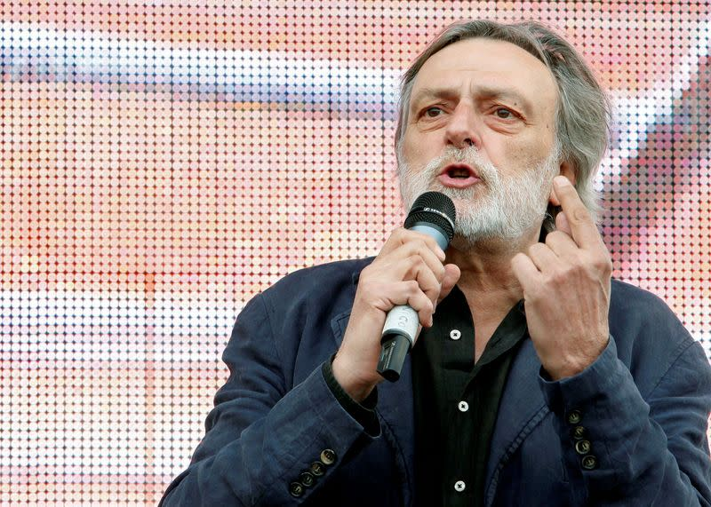 FILE PHOTO: Strada, leader and founder of Italian medical charity Emergency, speaks during a demonstration in Rome