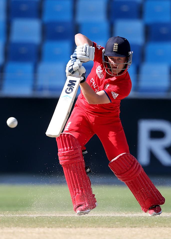 DUBAI, UNITED ARAB EMIRATES - FEBRUARY 22:  Ben Duckett  of England bats during the ICC U19 Cricket World Cup 2014 Quarter Final match between England and India at the Dubai Sports City Cricket Stadium on February 22, 2014 in Dubai, United Arab Emirates.  (Photo by Francois Nel - IDI/IDI via Getty Images)