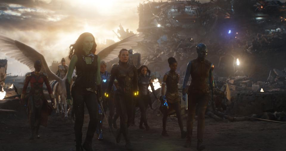 L to R: Okoye (Danai Gurira), Valkyrie (Tessa Thompson), Gamora (Zoe Saldana), Pepper Potts in Resue Suit (Gwyneth Paltrow), Wasp (Evangeline Lilly), Mantis (Pom Klementieff), Shuri (Letitia Wright) and Nebula (Karen Gillan) - ©Marvel Studios 2019