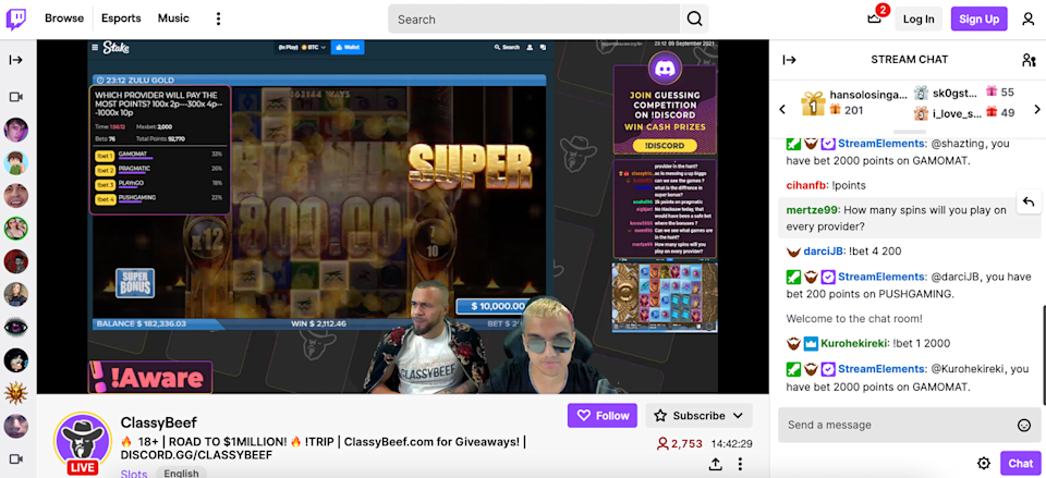 """<span class=""""caption"""">ClassyBeef are casino streamers on Twitch. </span> <span class=""""attribution""""><a class=""""link rapid-noclick-resp"""" href=""""https://www.twitch.tv/classybeef"""" rel=""""nofollow noopener"""" target=""""_blank"""" data-ylk=""""slk:(ClassyBeef/Twitch)"""">(ClassyBeef/Twitch)</a></span>"""