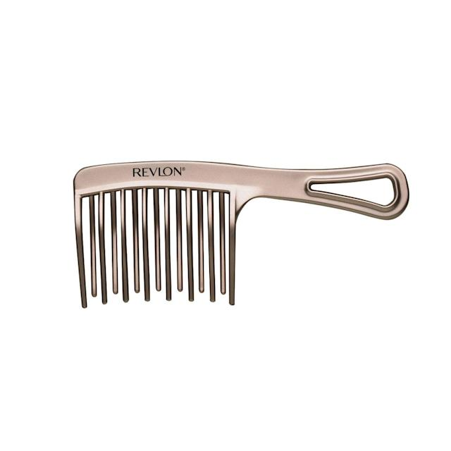 "<p>A wide-toothed comb is a curly girl's best friend. This can be used to detangle knots, massage the scalp, and even work through hair products effortlessly. $6, <a href=""https://www.target.com/p/revlon-perfect-style-thick-curly-comb-set-2-pc/-/A-52210093"" rel=""nofollow noopener"" target=""_blank"" data-ylk=""slk:target.com"" class=""link rapid-noclick-resp"">target.com</a> (Photo: Courtesy of Revlon) </p>"