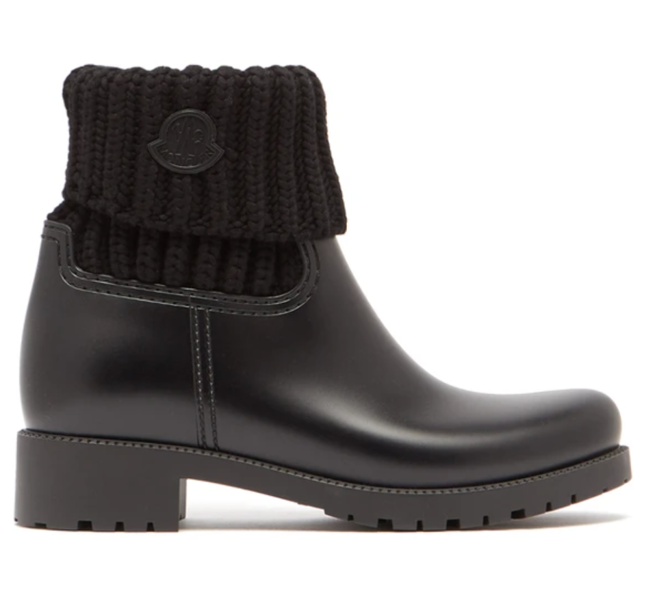 Moncler 'Ginette' Knitted and Rubber Rain Boots (Photo via MatchesFashion)