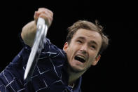 Russia's Daniil Medvedev smashes the ball to Germany's Alexander Zverev during the Paris Masters tennis tournament final, Sunday, Nov. 8, 2020 in Paris. (AP Photo/Christophe Ena)
