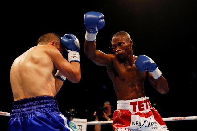Boxing - Zolani Tete v Omar Andres Narvaez - WBO World Bantamweight Title - SSE Arena, Belfast, Britain - April 21, 2018 Zolani Tete in action with Omar Andres Narvaez Action Images via Reuters/Jason Cairnduff