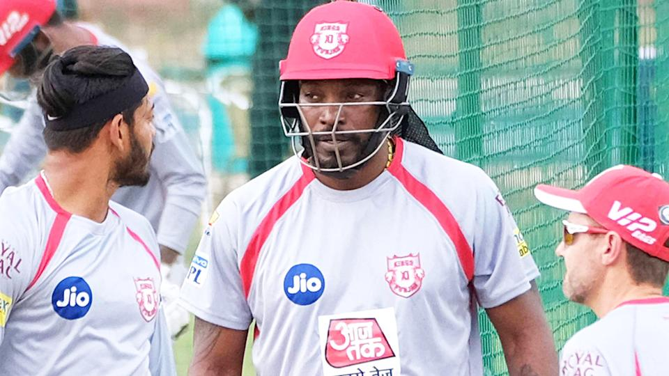 Chris Gayle, pictured here in action for Punjab Kings.