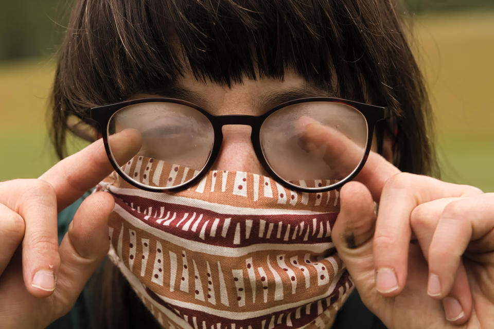 Foggy glasses is a common side effect of face mask wearing. (Getty Images)