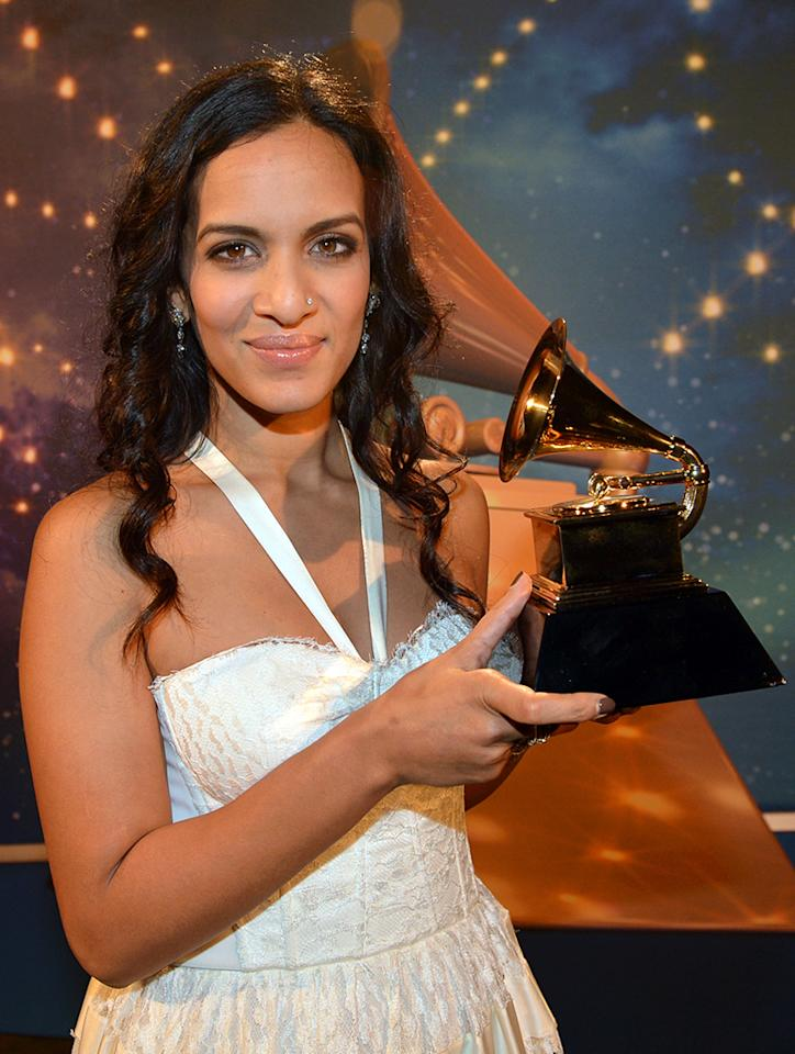 Anoushka Shankar appears onstage during the 55th Annual GRAMMY Awards Pre-Telecast at Nokia Theatre L.A. Live on February 10, 2013 in Los Angeles, California.  (Photo by Rick Diamond/WireImage)