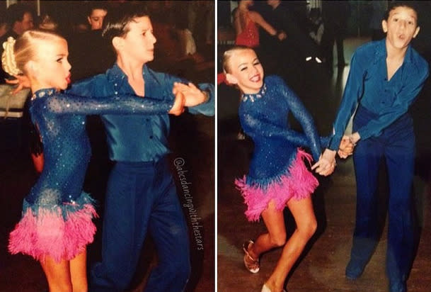 """<p>'Dancing With the Stars' judge Julianne Hough, with her childhood friend who's now a pro on the reality competition, Mark Ballas: """"#tbt to back in my competitive Latin days with my partner @markballas in London… Wow!!! I was such a baby and yet I felt sooooooooooo mature! Haha look at all that makeup and fake tan… Not to mention the boob cups that had nothing to fill them out… I mean I was 10yrs old!"""" -<a href=""""https://instagram.com/p/zks_0aCfyr/"""" rel=""""nofollow noopener"""" target=""""_blank"""" data-ylk=""""slk:@juleshough"""" class=""""link rapid-noclick-resp"""">@juleshough</a> (Instagram) <br></p>"""