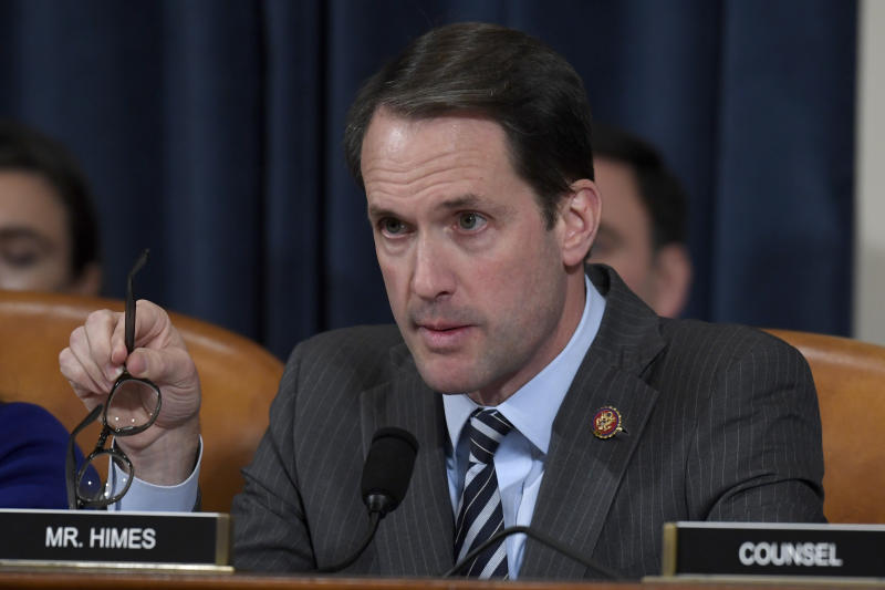 Rep. Jim Himes, D-Conn., questions top U.S. diplomat in Ukraine William Taylor, and career Foreign Service officer George Kent, at the House Intelligence Committee hearing on Capitol Hill in Washington, Wednesday, Nov. 13, 2019, during the first public impeachment hearing of President Donald Trump's efforts to tie U.S. aid for Ukraine to investigations of his political opponents. (AP Photo/Susan Walsh)