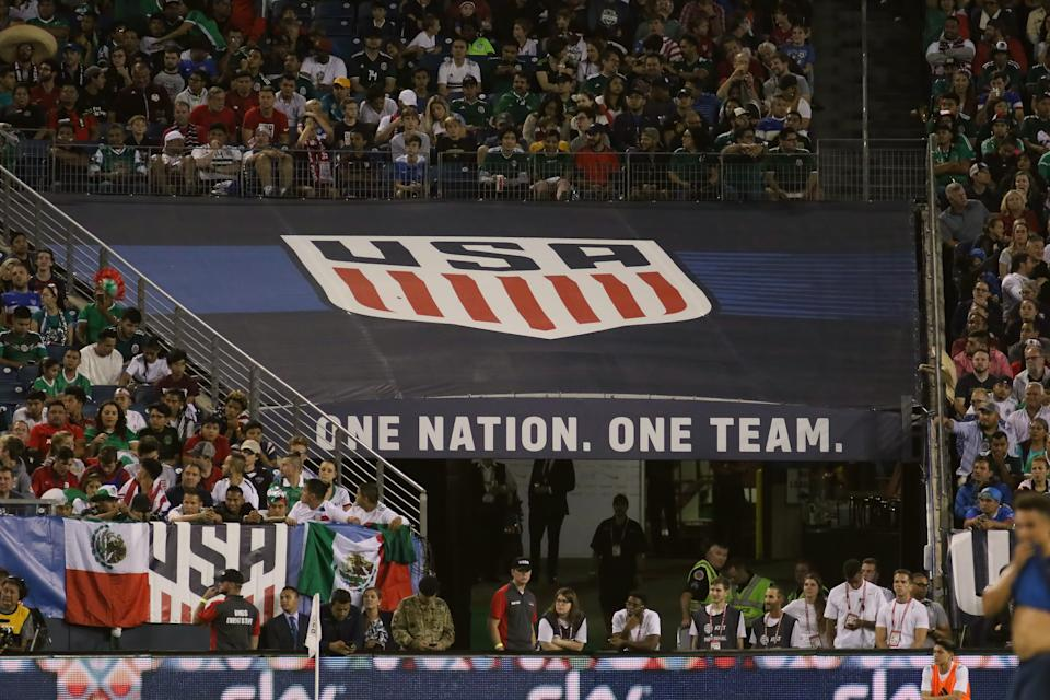NASHVILLE, TN - SEPTEMBER 11:  The U.S. Soccer logo is on display during the game between the United States National team and the Mexico National team on September 11, 2018 at Nissan Stadium in Nashville, Tennessee. (Photo by Michael Wade/Icon Sportswire via Getty Images)