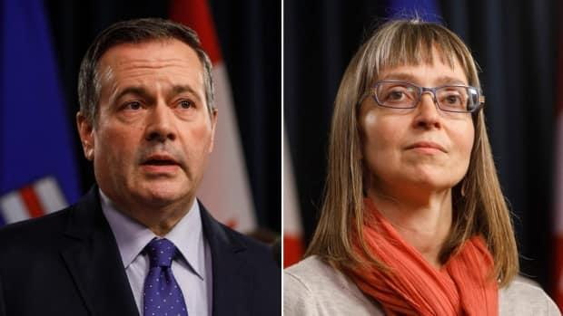 Alberta Premier Jason Kenney, left, and Dr. Deena Hinshaw, the province's chief medical officer of health, right, both stressed the importance Tuesday of stopping the sharp increase in COVID-19 cases the province is seeing in order to prevent prolonging the pandemic more than necessary.