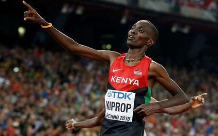 FILE PHOTO: Asbel Kiprop of Kenya reacts after winning the men's 1500 metres final during the 15th IAAF World Championships at the National Stadium in Beijing, China, August 30, 2015. REUTERS/Phil Noble/File Photo