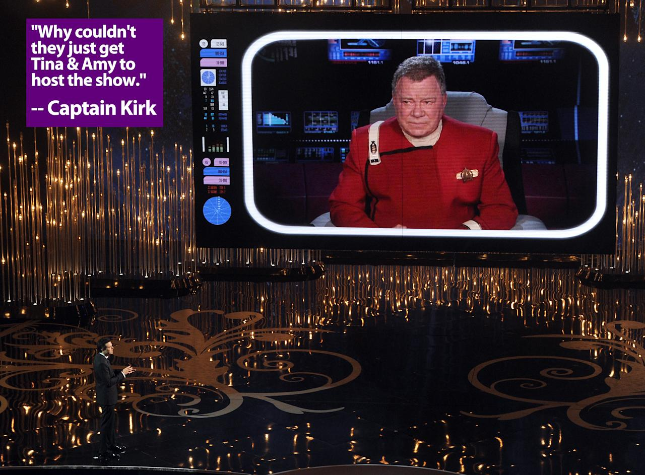 Host Seth MacFarlane talks to actor William Shatner on the video screen during the Oscars held at the Dolby Theatre on February 24, 2013 in Hollywood, California.