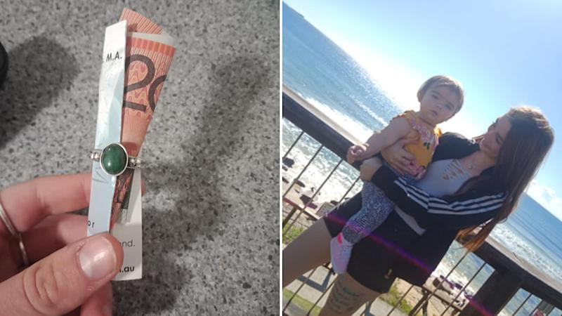 Pictured the $20 wrapped in a ring and a message, and (right) young Brisbane mum Brittany Lee Rickards with her daughter. Source: Facebook / Supplied.