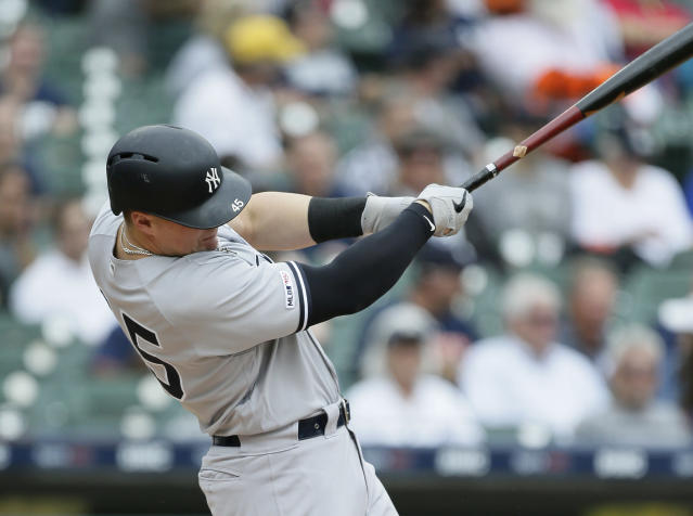 New York Yankees' Luke Voit hits a two-run home run against the Detroit Tigers during the first inning of game one of a doubleheader baseball game, Thursday, Sept. 12, 2019, in Detroit. (AP Photo/Duane Burleson)