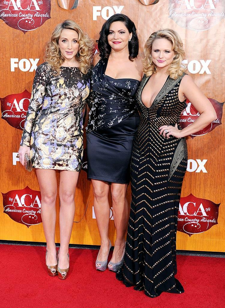 Ashley Monroe (left), Angaleena Presley (middle), and Miranda Lambert of Pistol Annies arrive at the American Country Awards held at the MGM Grand Garden Arena in Las Vegas. (12/05/2011)