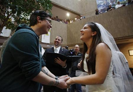 Jax Collins and Heather Collins get married at the Salt Lake County Government Building in Salt Lake City