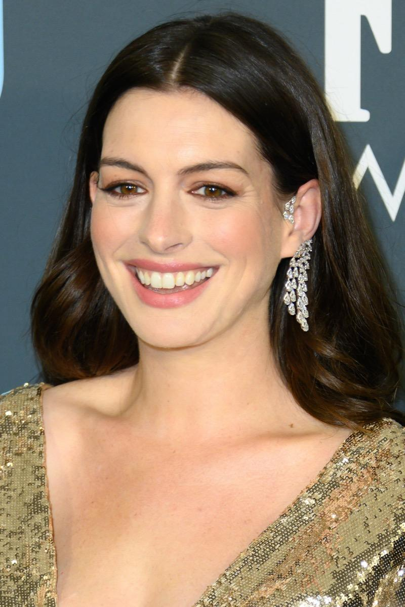 Anne Hathaway wears a gold dress at the 25th Annual Critics' Choice Awards in 2020