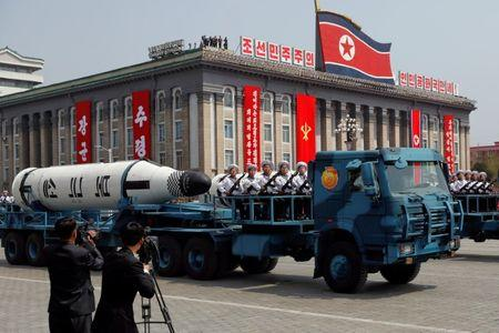 FILE PHOTO: A North Korean navy truck carries the 'Pukkuksong' submarine-launched ballistic missile in Pyongyang