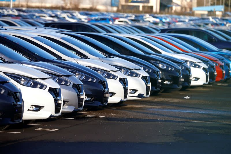Cars made by Nissan are seen parked at the Nissan car plant in Sunderland