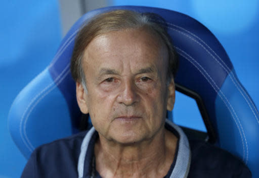 Nigeria coach Germany's Gernot Rohr waits for the start of the group D match between Nigeria and Iceland at the 2018 soccer World Cup in the Volgograd Arena in Volgograd, Russia, Friday, June 22, 2018. (AP Photo/Darko Vojinovic)