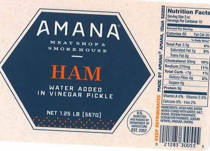 The label from Amana Meat Shop & Smokehouse Ham in the USDA's Public Health Alert