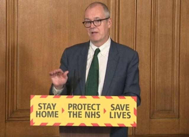 Chief scientific adviser Sir Patrick Vallance speaks during a media briefing in Downing Street. (Getty Images)