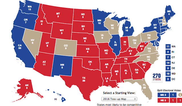 2016 Election Map: Coverage Map of Electoral Votes Per State