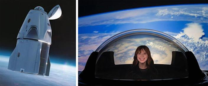 SpaceX modified the Inspiration4 Crew Dragon, replacing the docking mechanism normally used for NASA flights to the space station with a clear multi-layer dome, giving the crew an unimpeded 360-degree view of Earth and space. Crew member Hayley Arceneaux, right, checks it out on the ground. / Credit: SpaceX, Inspiration4, CBS News