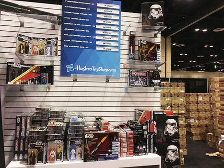 Star Wars products are lined up at the annual Star Wars Celebration where Walt Disney Co licensees are selling a new Luke Skywalker action figure, limited-edition Stormtrooper helmets and other coveted merchandise, in Orlando