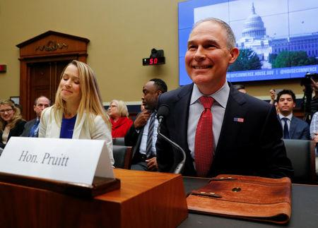 EPA Administrator Scott Pruitt testifies before a House Energy and Commerce Subcommittee hearing on the FY2019 Environmental Protection Agency budget in Washington, U.S., April 26, 2018. REUTERS/Brian Snyder