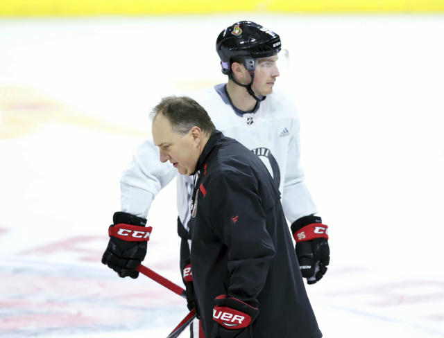Ottawa Senators assistant coach Martin Raymond, front, and Senators forward Matt Duchene skate past each other during NHL hockey practice in Ottawa on Tuesday, Nov. 6, 2018. A video has surfaced showing several Ottawa Senators players, including Duchene, trashing the team and assistant coach Raymond during an Uber ride, the latest bit of humiliation for an organization thats been riddled with it recently. The players have since apologized to the team and coach. (Fred Chartrand/The Canadian Press via AP)
